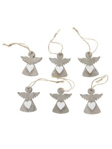 Sada šesti hnědých dřevěných andělů Dakls