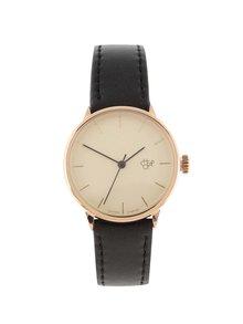 Dámske hodinky v zlatej farbe s čiernym remienkom z vegánskej kože CHPO Khorshid Mini Rose
