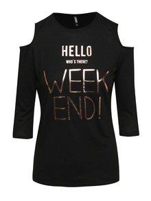 Čierne tričko s prestrihmi na ramenách Haily's Weekend