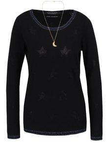 Čierny sveter s trblietavým tmavomodrým lemom Maison Scotch
