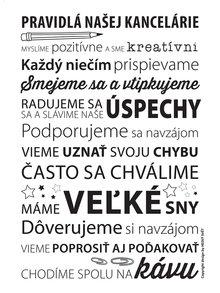 Bílý plakát  HEZKÝ SVĚT Pravidlá v Našej Kancelárie