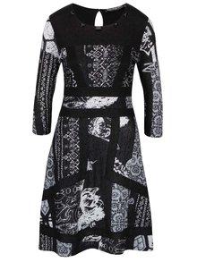 Šedé vzorované šaty s 3/4 rukávem šaty Desigual Paola