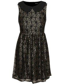 Čierne šaty s golierikom a vzormi v zlatej farbe Mela London