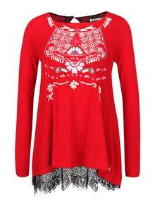 Červené tričko s čipkou a dlhým rukávom Desigual Atenas