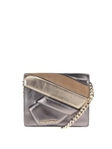 Kožená malá crossbody kabelka v zlatej a striebornej farbe KARL LAGERFELD