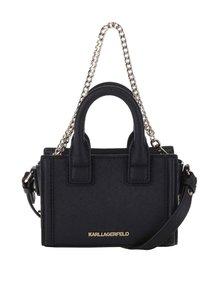 Čierna malá kožená crossbody kabelka s detailmi v zlatej farbe KARL LAGERFELD