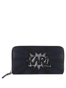 Modro-čierna peňaženka na zips s nápisom KARL LAGERFELD