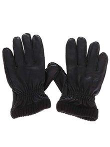 Černé kožené rukavice Jack & Jones