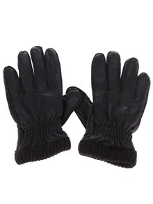 Čierne kožené rukavice Jack & Jones