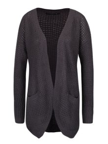 Cardigan gri inchis lung din tricot - ONLY Emma