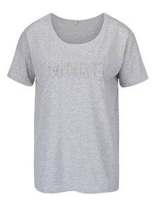 Svetlosivé melírované tričko s plastickým nápisom ONLY Alexa