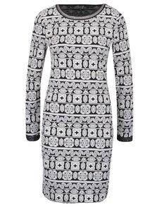 Krémovo-čierne vzorované šaty s detailom v striebornej farbe ONLY Olympus