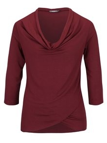 Bluză roșu Bordeaux cu guler fronsat ZOOT