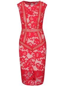 Krémovo-červené čipkované šaty Little Mistress