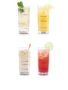 Sada čtyř barmanských sklenic s potiskem receptů Kikkerland Bartending Glass
