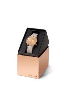 Dámske hodinky v ružovozlatej farbe so sivým koženým remienkom Komono Estelle Mirror