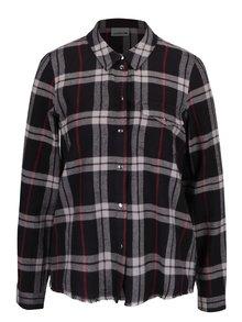 Krémovo-černá kostkovaná košile s roztřepeným okrajem Noisy May Erik