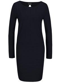 Tmavomodré rebrované šaty s dlhým rukávom VERO MODA Dina