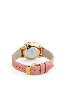 Ceas auriu cu curea roz din piele naturala pentru femei - Komono Estelle Mirror