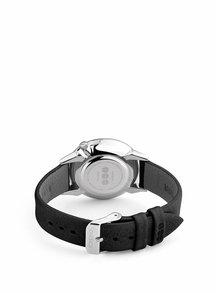 Ceas argintiu cu curea negra din piele naturala pentru femei - Komono Estelle Mirror