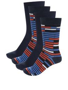 Sada čtyř párů tmavě modrých a oranžovo-modrých ponožek Jack & Jones Christian
