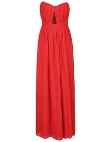 Rochie roșie lungă cu pliuri și decupaj Little Mistress