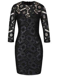 Černé koženkové krajkové šaty s 3/4 rukávy Little Mistress