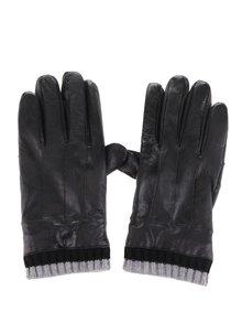 Čierne pánske kožené rukavice s úpletom Portland