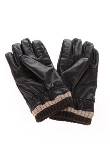 Hnedé pánske kožené rukavice s úpletom Portland
