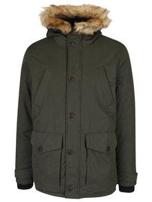 Kaki bunda s kapucňou a umelou kožušinou Burton Menswear London