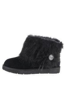 Černé semišové kotníkové boty s umělým kožíškem Tamaris