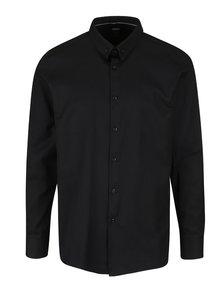 Černá formální skinny fit košile s jemným vzorem Burton Menswear London
