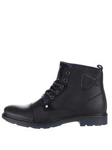 Čierne pánske kožené členkové topánky Bullboxer