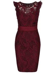 Vínové krajkové šaty s volánky Little Mistress