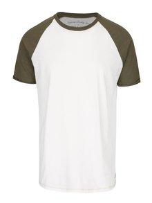 Krémové triko se zelenými rukávy Jack & Jones Fu Sean