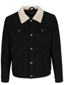 Čierna vlnená bunda s vreckami Jack & Jones Glen