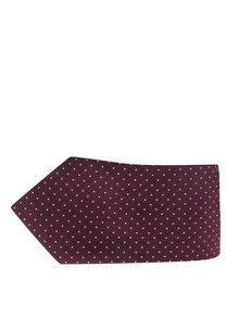 Vínová hodvábna kravata so vzorom Jack & Jones