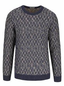 Krémovo-modrý vzorovaný sveter Jack & Jones Fu Blue