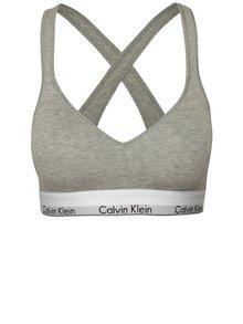 Šedá sportovní podprsenka se širokým spodním lemem Calvin Klein