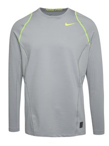 Sivé pánske funkčné tričko s dlhým rukávom Nike Pro Hyperwarm