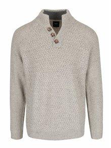 Sivo-krémový melírovaný sveter s gombíkmi Burton Menswear London