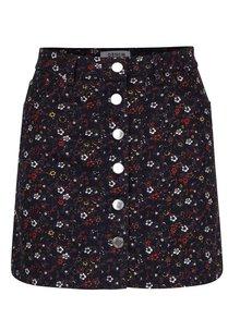 Hnedo-modrá kvetovaná sukňa s gombíkmi Miss Selfridge