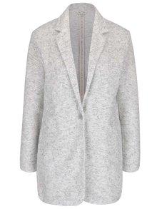 Krémový žíhaný kabát na jeden knoflík Miss Selfridge