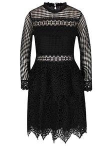 Čierne čipkované šaty s dlhým rukávom Miss Selfridge