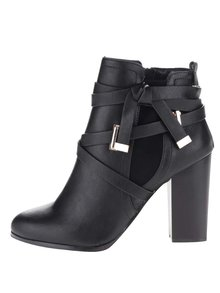 Botine negre cu benzi decorative Miss Selfridge