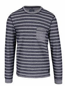 Bluză tricotată albastru închis cu gri în dungi Blend