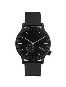 Čierne unisex hodinky s koženým remienkom Komono Winston Subs