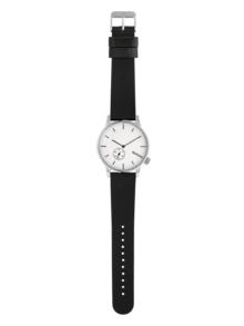 Unisex hodinky v striebornej farbe s koženým remienkom Komono Winston Subs