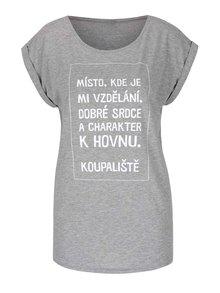 Šedé dámské triko s krátkým rukávem Bez Jablka Koupaliště
