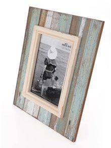Tyrkysovo-hnědý vintage fotorámeček Sass & Belle